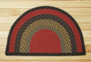 Rug Slice Burgundy Olive and Charcoal Jute Braided Earth Rug®