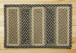 Rectangle Soft Patch Grass Green Ebony and Ivory Jute Braided Earth Rug®