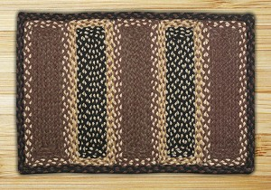 Rectangle Soft Patch Black Chocolate and Ivory Jute Braided Earth Rug®