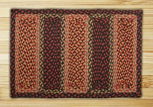 Rectangle Soft Patch Burgundy Mustard and Black Jute Braided Earth Rug®