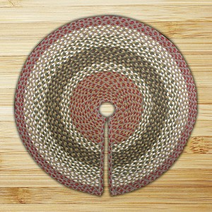Tree Skirt Olive Burgundy and Gray Jute Braided Earth Rug®