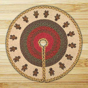 Printed Tree Skirt Gingerbread Men Jute Braided Earth Rug®