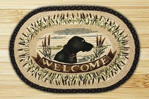 Oval Hand Printed Welcome Dog Braided Earth Rug®