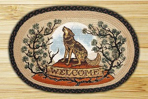 Oval Art Patch Wolf Welcome Braided Earth Rug®