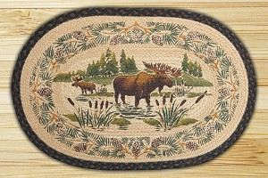 Oval Hand Printed Moose Wading Braided Earth Rug®