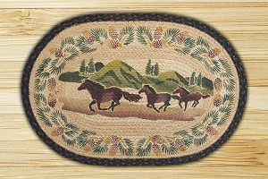 Oval Hand Printed Mountain Horse Braided Earth Rug®