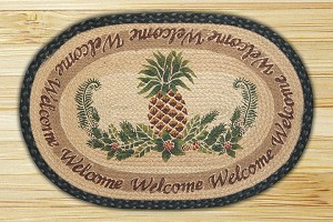 Oval Hand Printed Pineapple Welcome Braided Earth Rug®