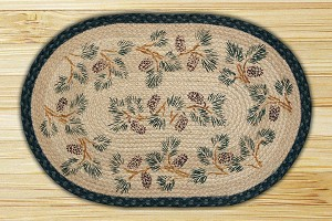 Oval Hand Printed Pinecone Border Braided Earth Rug®