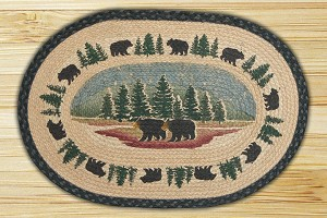 Oval Hand Printed Wilderness Bear Braided Earth Rug®