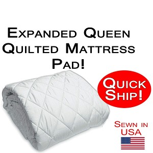 Quick Ship! Expanded Queen Size Quilted Mattress Pad