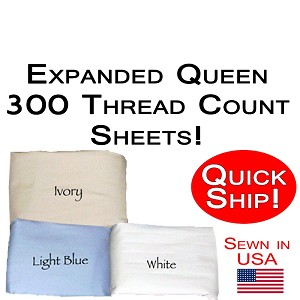 Quick Ship! Luxury Expanded Queen Size Sheet Sets 300 Thread Count