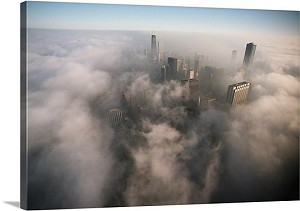 Chicago, Illinois Airborne Clouds Panorama Picture