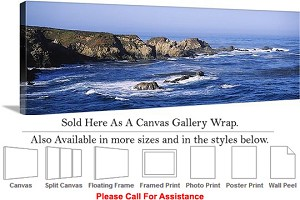"Big Sur Garrapata State Beach California Coastline Canvas Wrap 48"" x 16"""