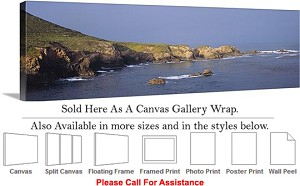 "Big Sur Rocky Beach California Coastal Landscape-9 Canvas Wrap 48"" x 16"""