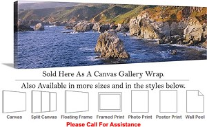 "Big Sur Rocky Beach California Coastal Landscape-5 Canvas Wrap 48"" x 16"""