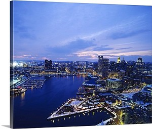 Baltimore, Maryland High Angle View Of A City Lit Up At Dusk Panorama Picture