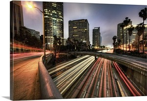 Los Angeles, California Dusk In Downtown Panorama Picture