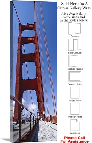 "Golden Gate Bridge at San Francisco California-84 Canvas Wrap 16"" x 48"""