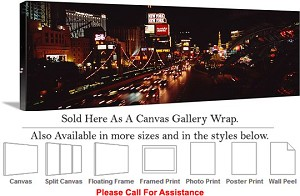 "Las Vegas The Strip American Landmark in Nevada-97 Canvas Wrap 48"" x 17"""