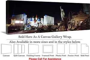 "Las Vegas The Strip American Landmark in Nevada-62 Canvas Wrap 48"" x 16"""