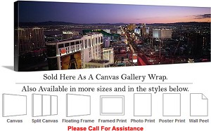 "Las Vegas The Strip American Landmark in Nevada-78 Canvas Wrap 48"" x 16"""