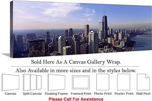 "Sears Tower American Landmark Chicago Illinois-45 Canvas Wrap 48"" x 16"""