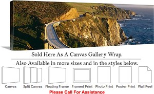 "Big Sur Bixby Bridge California Coast Landscape-14 Canvas Wrap 48"" x 16"""