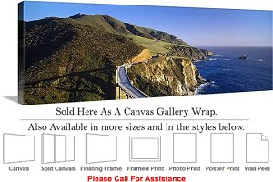 "Big Sur Route 1 Hwy California Coastal Landscape-2 Canvas Wrap 48"" x 16"""