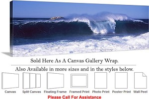 "Big Sur Waves in Sea California Coastal Landscape Canvas Wrap 48"" x 16"""