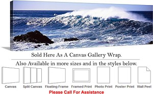 "Big Sur Ocean Waves California Coastal Landscape Canvas Wrap 48"" x 16"""