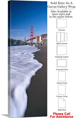 "Golden Gate Bridge at San Francisco California-40 Canvas Wrap 16"" x 48"""
