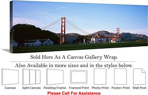 "Golden Gate Bridge at San Francisco California-112 Canvas Wrap 48"" x 17"""