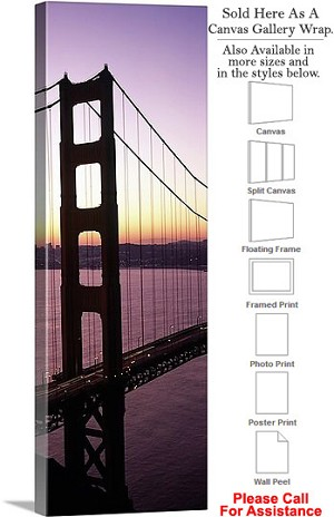 "Golden Gate Bridge at San Francisco California-83 Canvas Wrap 16"" x 48"""