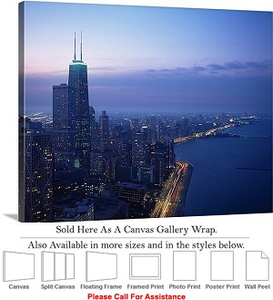 "Sears Tower American Landmark Chicago Illinois-36 Canvas Wrap 24"" x 19"""