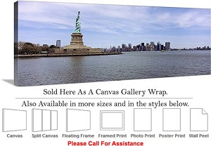 "Statue of Liberty an American Landmark New York-11 Canvas Wrap 48"" x 17"""