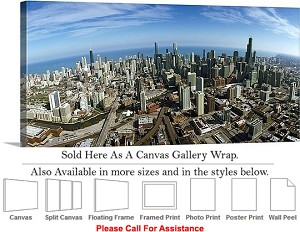 "Sears Tower American Landmark Chicago Illinois-28 Canvas Wrap 36"" x 16"""