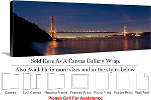 "Golden Gate Bridge at San Francisco California-110 Canvas Wrap 48"" x 17"""