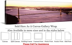 "Golden Gate Bridge at San Francisco California-167 Canvas Wrap 48"" x 16"""