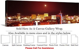 "Las Vegas The Strip American Landmark in Nevada-98 Canvas Wrap 48"" x 16"""