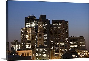 Boston, Massachusetts Skyscrapers Lit Up At Dusk Panorama Picture