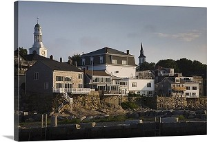 Boston, Massachusetts Buildings On A Hill Old Harbor Rockport Panorama Picture