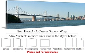 "Golden Gate Bridge at San Francisco California-148 Canvas Wrap 48"" x 16"""