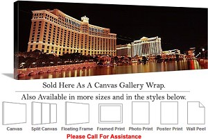 "Las Vegas The Strip American Landmark in Nevada-33 Canvas Wrap 48"" x 16"""