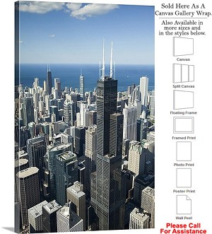 "Sears Tower American Landmark Chicago Illinois-55 Canvas Wrap 20"" x 30"""