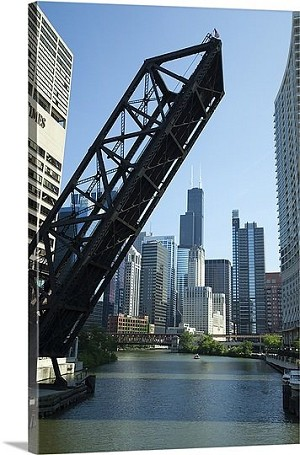Chicago, Illinois Drawbridge Across A River Panorama Picture