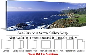 "Big Sur Pacific Coast California Coastal Landscape Canvas Wrap 48"" x 15"""