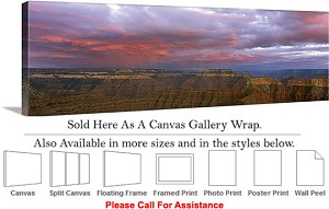 "Grand Canyon National Park in Arizona Landscape-28 Canvas Wrap 48"" x 15"""