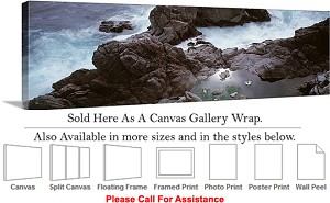 "Big Sur Rocky Beach California Coast Landscape-12 Canvas Wrap 48"" x 16"""
