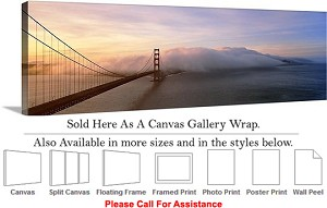 "Golden Gate Bridge at San Francisco California-15 Canvas Wrap 48"" x 15"""
