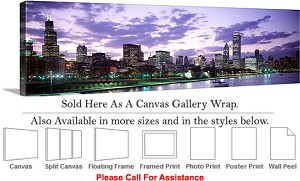 "Sears Tower American Landmark Chicago Illinois-2 Canvas Wrap 48"" x 15"""